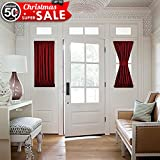 Burgundy French Door Curtain Panel - Thermal Insulated Blackout Sliding Door / Side lights Door Curtain for Privacy by NICETOWN (One Panel, 25W by 40L Inches, Burgundy)