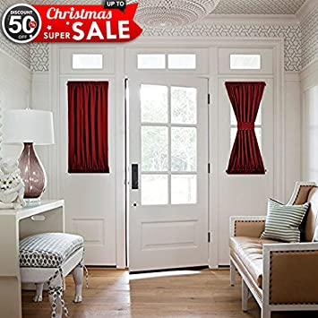 Burgundy French Door Curtain Panel   Thermal Insulated Blackout Sliding Door  / Side Lights Door Curtain