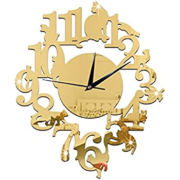 (Gold Color) NEW home decor wandklok creative wall watch reloj Acrylic Cats Lovery large 3d vintage wall clocks modern design murale reloj pared