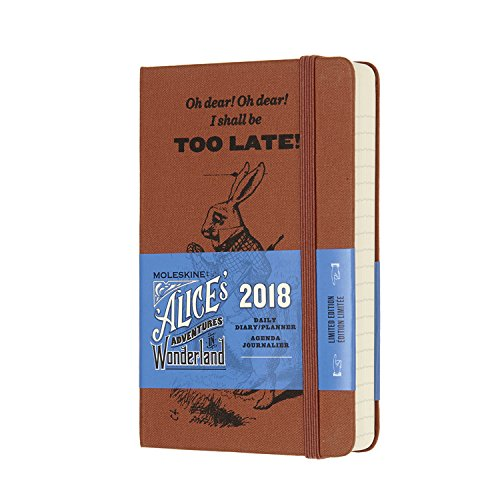 Moleskine Limited Edition Alice in Wonderland, 12 Month Daily Planner, Pocket, Coral Orange (3.5 x 5.5)