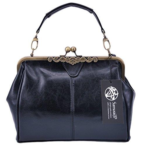 Samurai JP Cross Body PU Leather Messenger Bag Antique Design Handbag for Women with Handkerchief (Vintage Black)