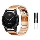 AutumnFall 2018 New Metal Stainless Steel Watch Band Strap For Garmin Fenix 5S,22mm Band Length: 170mm (Rose Gold)