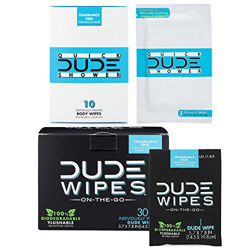DUDE Wipes Flushable (30pk) & DUDE Shower Body Wipes (10pk) Unscented with Vitamin-E & Aloe Individually Wrapped Singles for Travel -