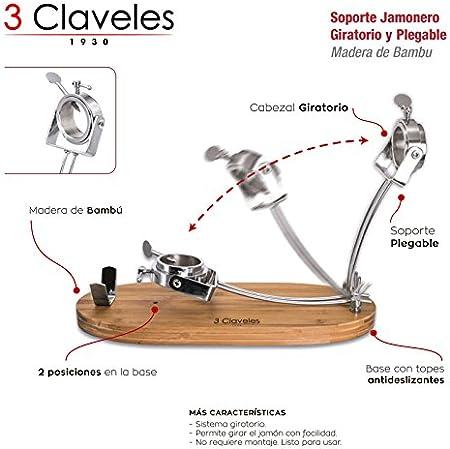 3 Claveles - Juego Soporte Jamonero Plegable y Giratorio en Madera de Bambu y Cuchillo Profesional Jamonero Pom Alveolado de 29 cm. con Estuche Protector de Seguridad