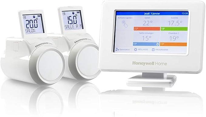 Honeywell HR92WE Lot de 4 thermostats robinets de radiateur WiFi