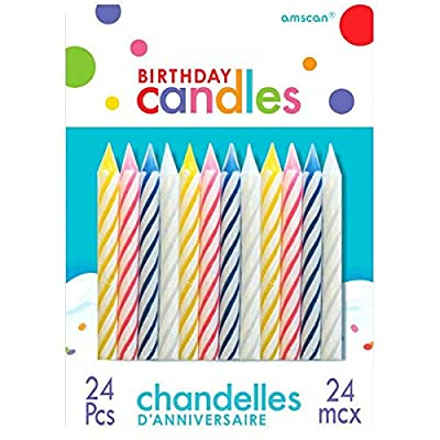 Assorted Candy Stripe Spiral Birthday Candles | Pack of 24 | Party Suppply: Toys & Games
