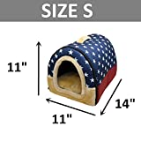 DK Cozy 2-in-1 Pet house and Sofa Non-Slip Dog Cat Igloo Beds 3-Size,Blue Star Large