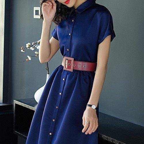 Robes Fashion Manches Cou 2018 Marine Jupe Longue Une Nouveau L Surtout MiGMV Revers Courtes Bleu Robe Style Taille Robe n5EX0qwYRx