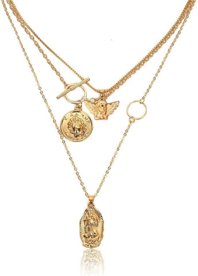 Collar Cadena De Eslabones De Aleación Vintage con Collar Colgante De Perlas Simuladas Mujer Collar De Declaración Simple Joyería