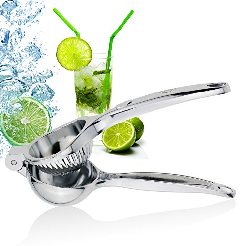 ONME Lemon Squeezer, Premium Quality Stainless Steel Lemon Lime Squeezer with High Strength, Manual Hand Citrus Press Lime Juicer with Heavy Duty Design, Anti-corrosive Dishwasher Safe – Silver (Hand Held Lemon Squeezer)
