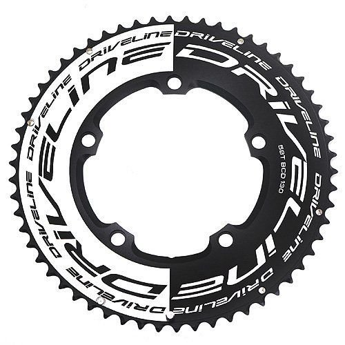 Driveline Packages - Driveline AL7075 Road Bike Bicycle TT Chainring 58T, BCD 130mm, Black x White #ST1554