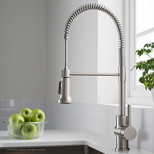 Kraus Britt Spot Free Stainless Pre-Rinse Commercial Kitchen Faucet with Dual Function Sprayhead in all-Brite Finish, KPF-1690SFS