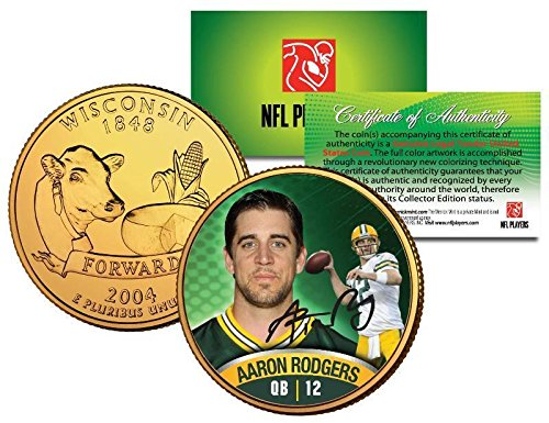 Used, AARON RODGERS PACKERS WISCONSIN 24KT GOLD QUARTER/COIN! for sale  Delivered anywhere in USA