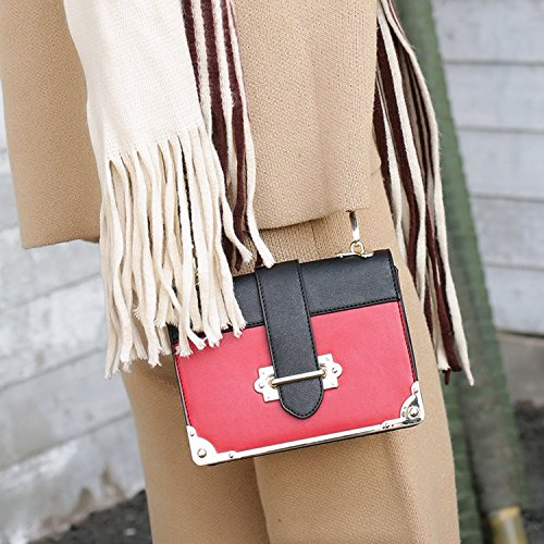 BYD mujeres Mini bolsa de hombro Bolso de monedero de mensajero de leather bolso de hombro de moda de vendimia mujeres Take-cuero de la hebilla de metal de más seguro rojo