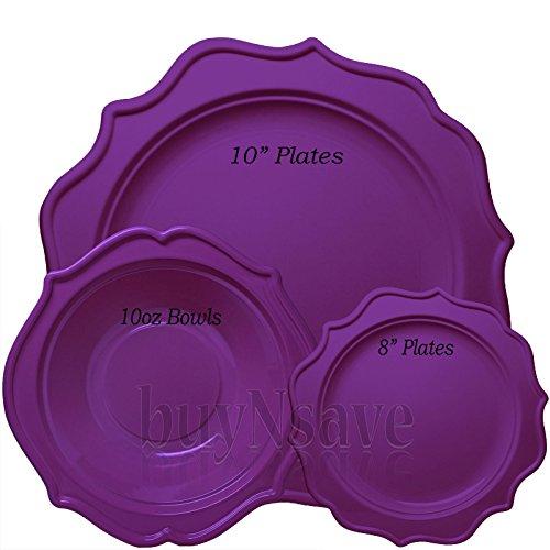 (buyNsave Purple Plastic Disposable Plates, Wedding Party Dinnerware, Festive Collection (35, 10oz. Soup Bowls))