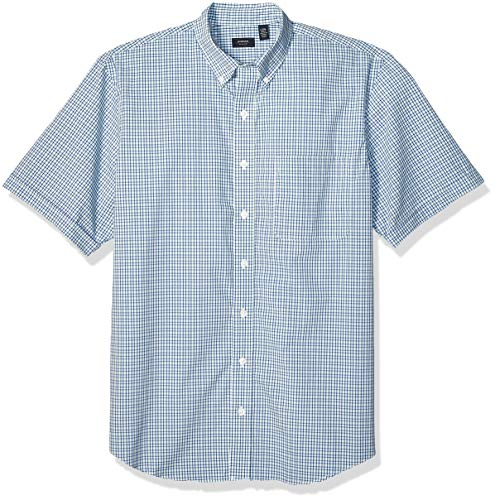 Arrow 1851 Men's Big and Tall Hamilton Poplins Short Sleeve Button Down Plaid Shirt, nile Green, X-Large