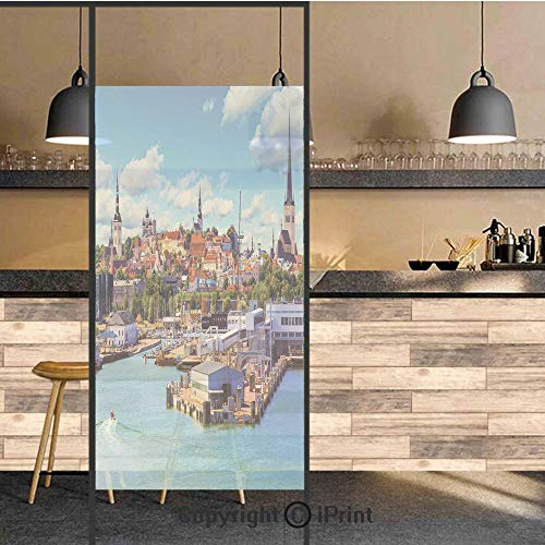 3D Decorative Privacy Window Films,Scenic Summer of Old City and Sea Port in Harbor Estonia Historical Heritage Print,No-Glue Self Static Cling Glass film for Home Bedroom Bathroom Kitchen Office 24x4 -