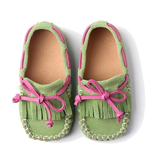 YiJee Jungen Mädchen Halbschuhe Mokassins Comfort Flache Schuhe Hell Grün