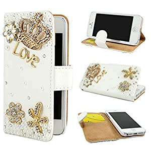 TJA Bling Rhinestone Magnetic Wallet PU Leather Stand Case Cover for Apple iPhone 5C White