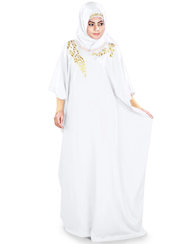MyBatua Womens Kaftan Gold Embroidered Fancy Abaya Evening Gown Free Size Maxi Dress KF-023, White