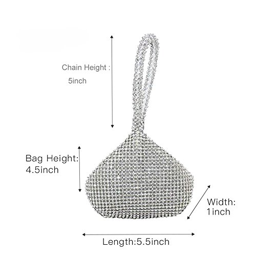 Party Prom Clutch Bag Wedding Rhinestones Sliver upgrade Purse Triangle Women's Topchances Full Evening Silver Bag xqFUY80