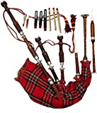 Scottish Great Highland Bagpipe Rosewood Natural Silver Mounts with Hard Case & Tutor Book