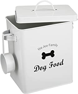 Morezi Dog Cat Treat and Food Storage Tin with Lid and Scoop Included - White Powder-Coated Carbon Steel - Rubber Seal Lids Safety - Storage Canister Tins