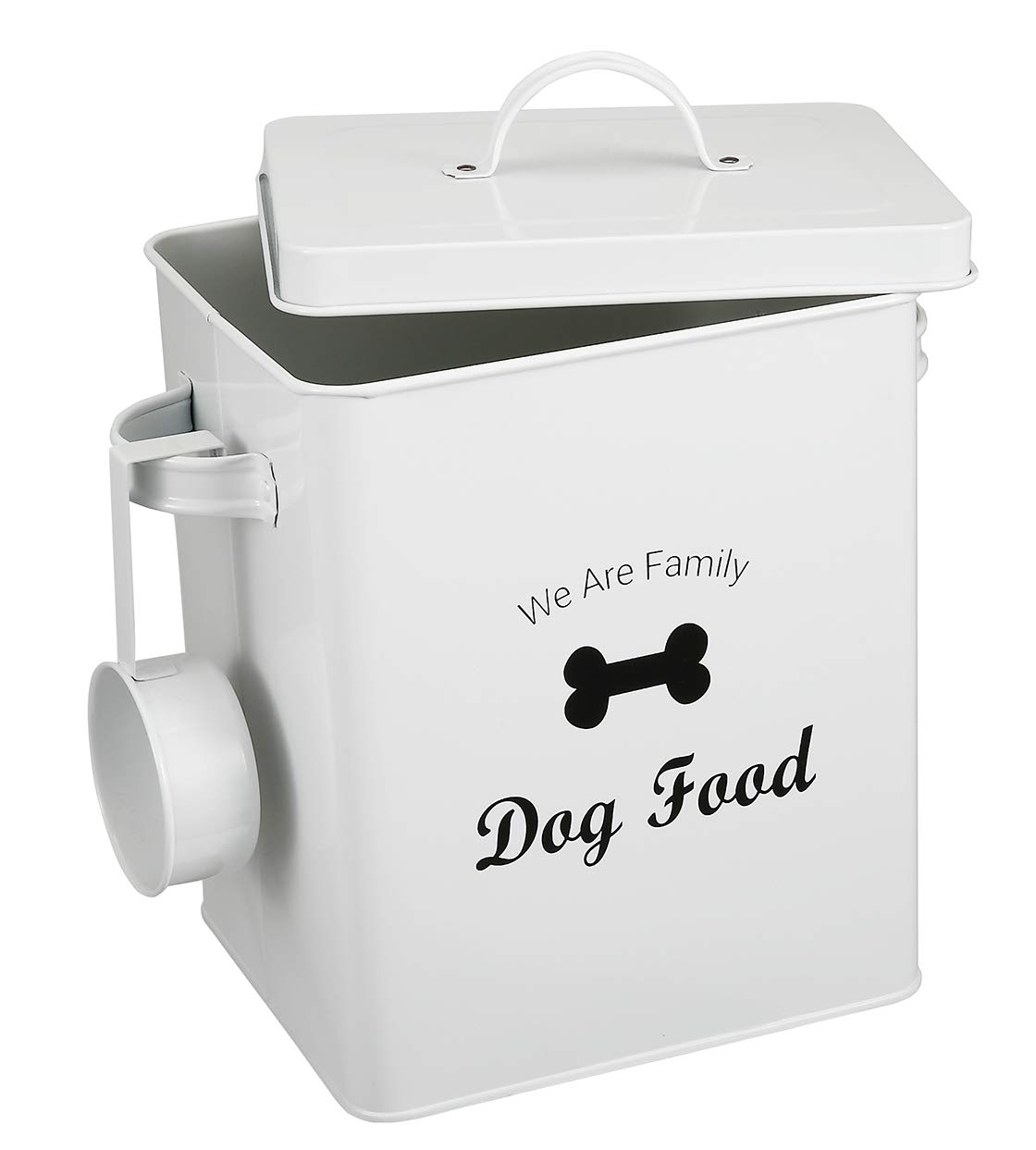 Geyecete Dog Treat and Food Storage Tin with Lid - 6lbs Capacity - Serving Scoop Included