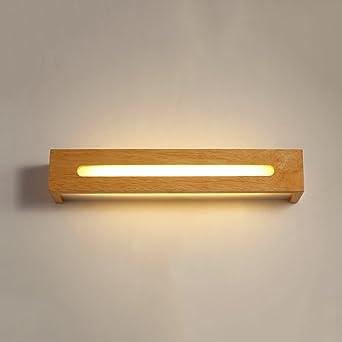 JSJ - Lámpara de espejo de baño led creativa lámpara de escaleras de escalera nórdica lámparas de maqueta de dormitorio de moda lámpara de pared de madera maciza: Amazon.es: Iluminación