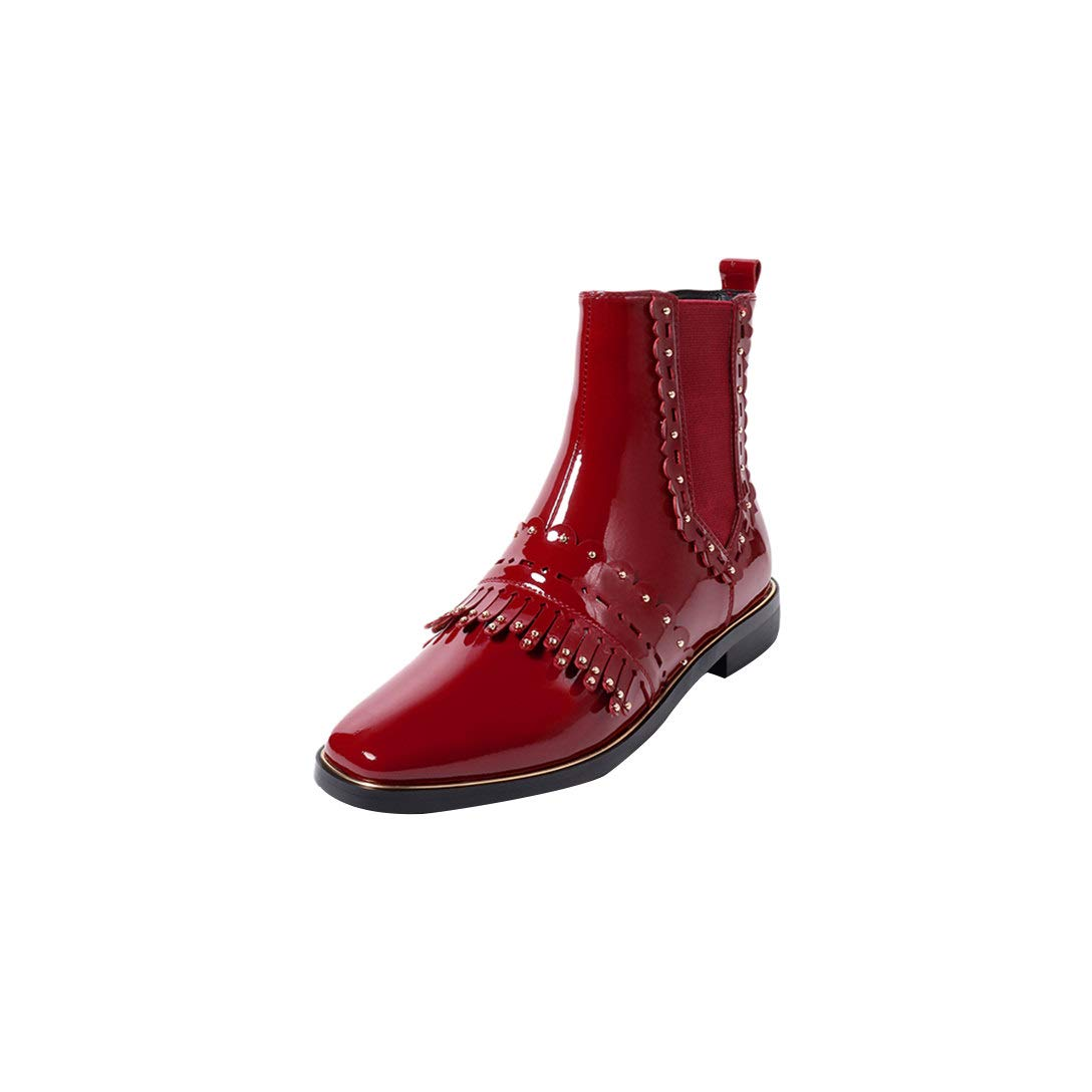 Red MAYPIE Womens Toattit Leather Slip-on Ankle Boots