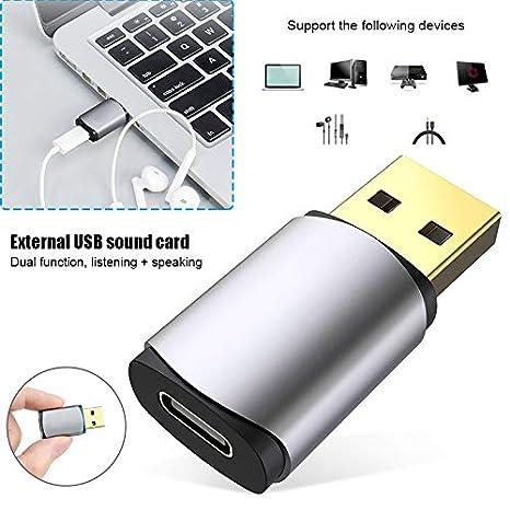 Juntful - Tarjeta de Sonido Externa USB Tipo C para Auriculares ...