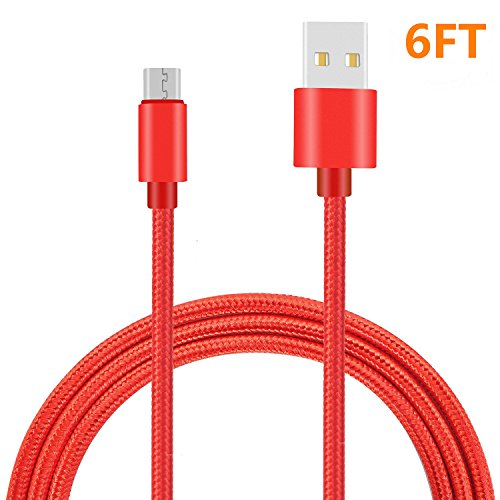 Price comparison product image Micro USB Cable, Nylon Braided Android Charger Cord fast charging Sync Cable for Samsung ,Galaxy Tablet,HTC, Huawei, LG, Nokia,Motorola ,Android Smart phones and More. (Red 1Pack 6FT)