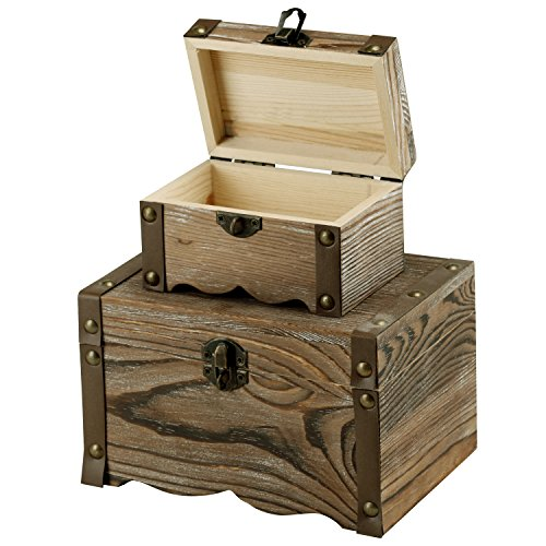 Decorative Antique Rustic Style Wooden Nesting Boxes / Mini Dresser-Top Jewelry Organizer Chests Set of 2