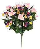 Lush, artificial spring bouquet by OakRidgeTM Outdoor features lifelike blooms of pink roses, purple cosmos, yellow jonquils and more. This artificial spring arrangement is perfect for displaying in a vase, basket or planter, indoors or out. ...