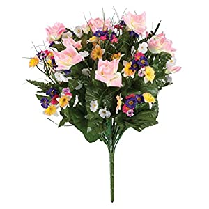 "OakRidge Spring Floral Bouquet Silk Floral Indoor/Outdoor Décor, 10 ½"" D x 16 ½"" H 91"