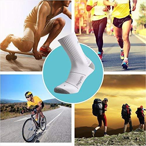 IMITOR Calcetines de Senderismo para Hombre y Mujere Algodón Transpirable Calcetines de Trekking Calcetines Térmicos para Actividades al Aire Libre Ciclismo Correr Escalar 3 Pares (Blanco Gris)