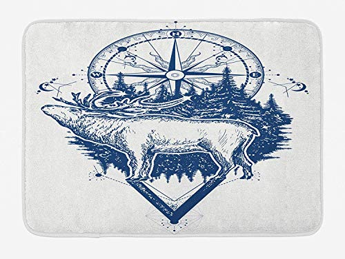 Adventure Bath Mat, Reindeer and Compass Ethnic Tribal Travel Symbol Wilderness Forest Outdoors, Plush Bathroom Decor Mat with Non Slip Backing, 23.6 W X 15.7 W Inches, Dark Blue White