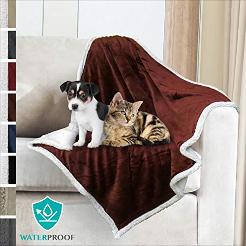 (PetAmi Premium Waterproof Soft Sherpa Pet Blanket by Cozy, Comfortable, Plush, Lightweight Microfiber, 100% WATERPROOF (30