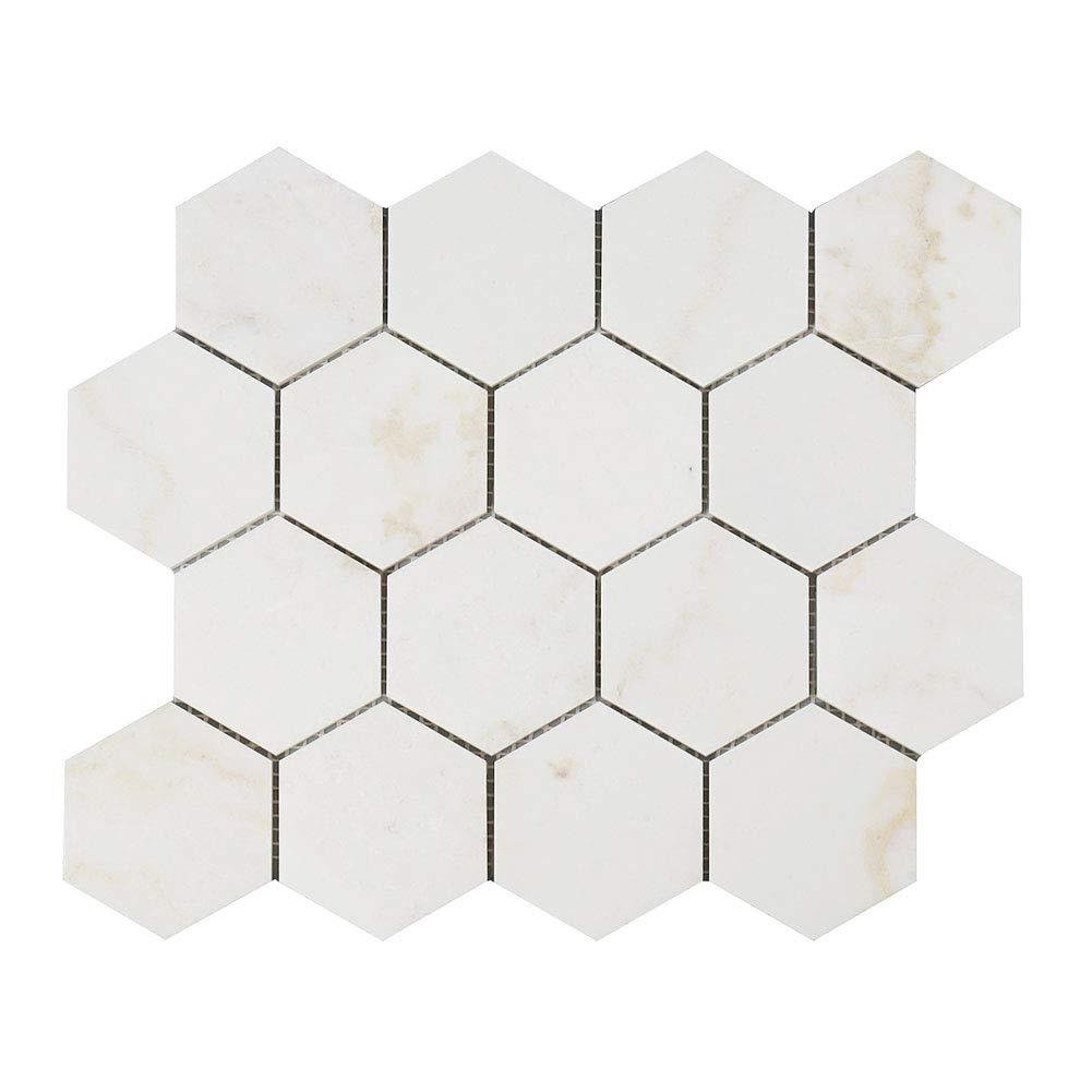 Diflart New Calacatta Gold 3 Inch Hexagon Marble Mosaic Tile Calacatta Pindos Polished, 5 Sheets/Box (Hexagon 3'')