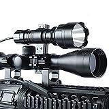 AUKMONT 3-9x40EG Red&Green Illuminated Sight Hunting Zoom Air Rifle Scope + Cree XML Q5 Tactical Mount Light