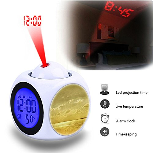 - Projection Alarm Clock Wake Up Bedroom with Data and Temperature Display Talking Function, LED Wall/Ceiling Projection,Customize The pattern-029.Background, Gold, Beach, Sea, Ocean, Beautiful Beach