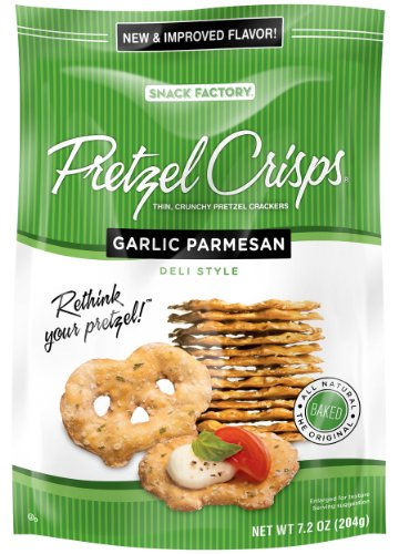Pretzel Crisps Garlic Parmesan, 7.2-Ounce (Pack of 12)