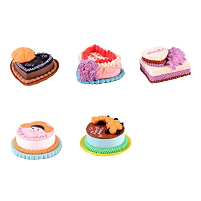 5pcs/set Mini Cake Food Kids Toy Beautiful Accessory Perfect for Dollhouse Bedroom Scene: Kitchen & Dining