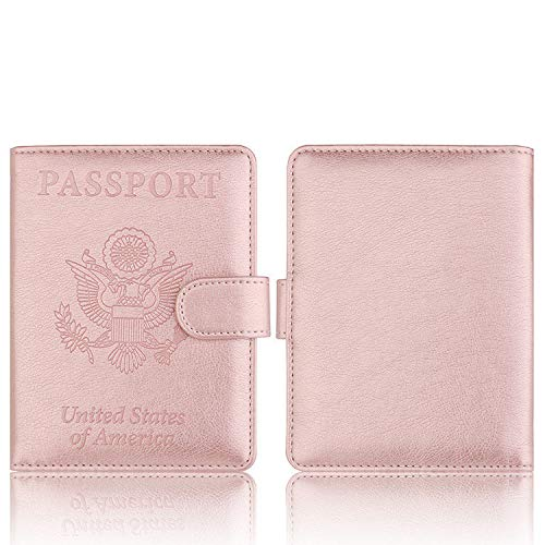 Gold Shipping From USA Leather Passport Holder Wallet Cover Case RFID Blocking Travel Wallet