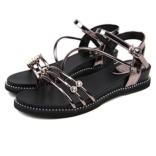Chaussures Cheville Buckle Sauvages Les Plats Occasionnels Strass Sandales à Sandales Femmes à la Coréens Mode pour de Flip Color Flops Bandages Gun Talons en Cross wqtFAHU