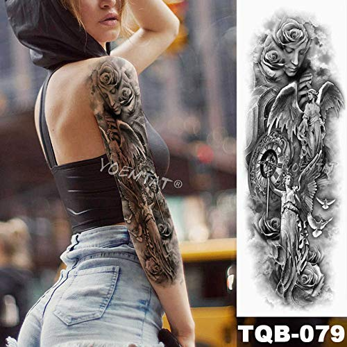 Brazo grande tatuaje brújula timón impermeable tatuaje pegatina ...