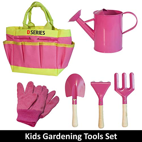 (D SERIES Kids Gardening Tool Set Real Tools with Safety Edges, Gloves & Durable Tool Carrying Bag | Includes Pink Watering Can, Child Sized Trowel, Rake & Garden Fork | Learn While Playing)