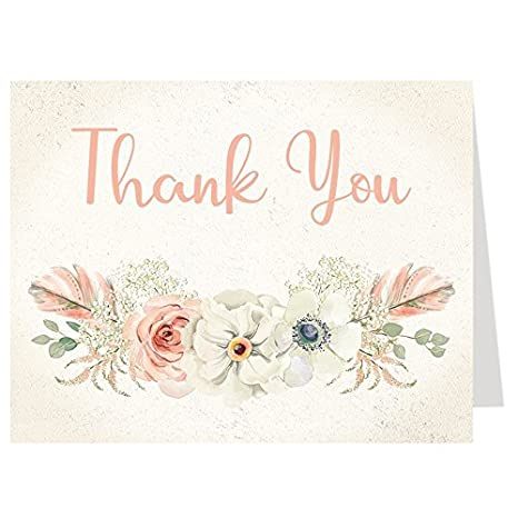 Amazon Com Bohemian Baby Shower Thank You Cards Floral Coral