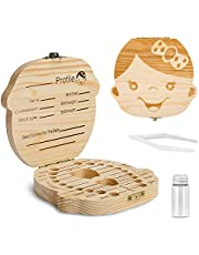 Baby Tooth Box,Wooden Kids Keepsake Organizer for Baby Teeth, Cute Children Tooth Container with Tweezers and lanugo Bottle to Keep the Childhood Memory