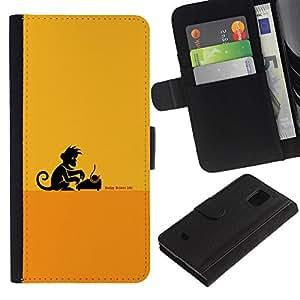 KLONGSHOP // Tirón de la caja Cartera de cuero con ranuras para tarjetas - Escritor Monkey Business - Samsung Galaxy S5 Mini, SM-G800 //